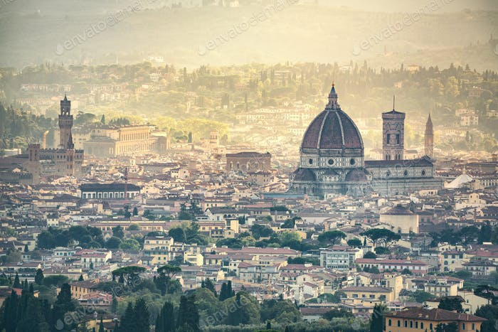 Florence aerial foggy cityscape. Panorama view from Fiesole hill