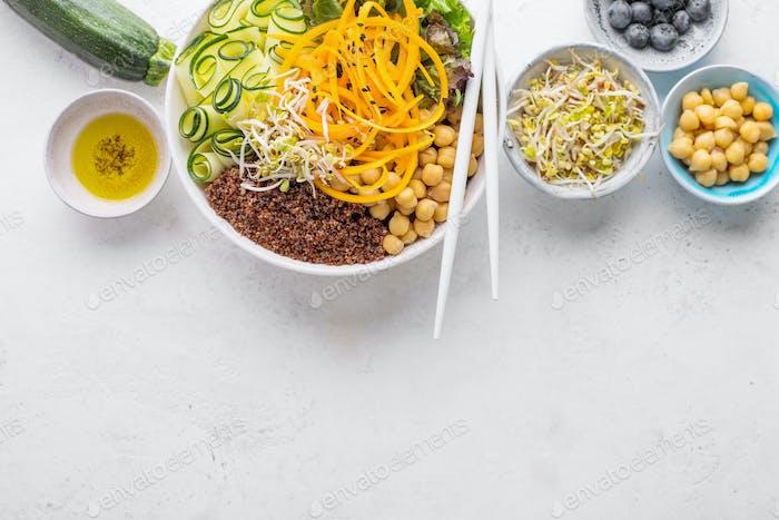 Buddha bowl salad with fresh vegetables