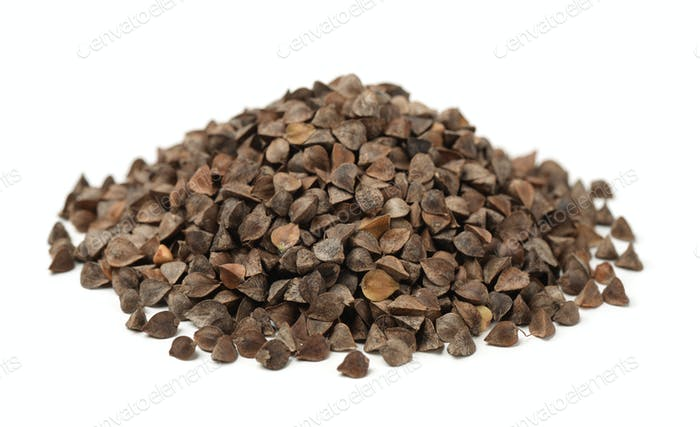 Pile of unhulled buckwheat