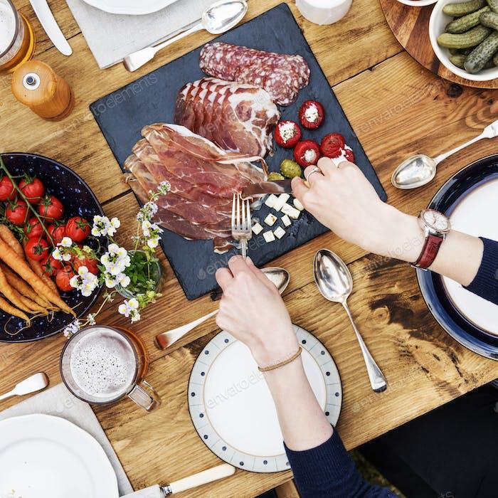 Person Essen Gourmet Mahlzeit Konzept