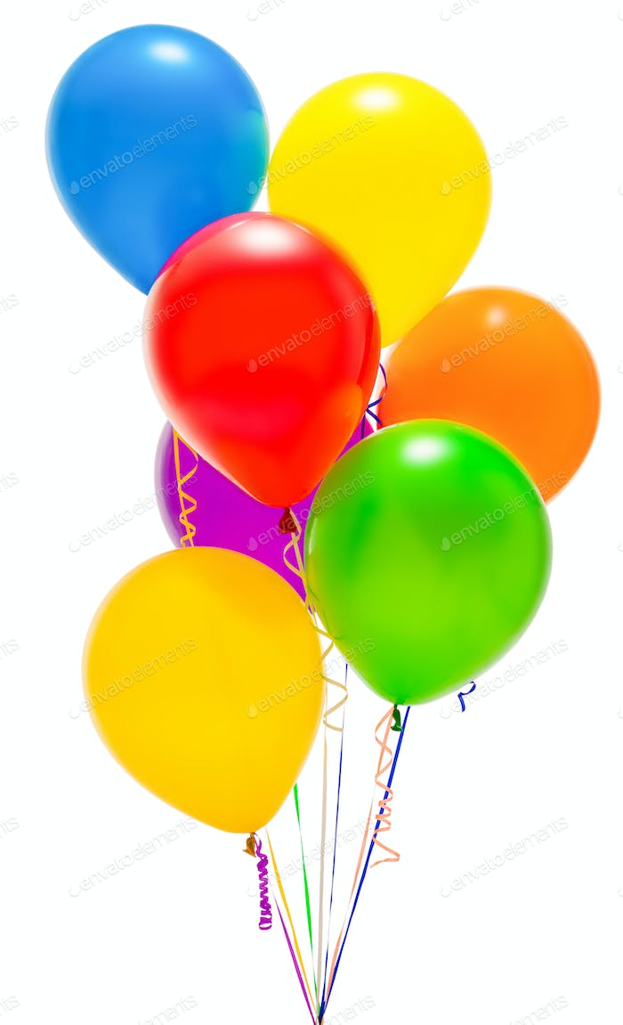 Colored balloons on a white isolated background