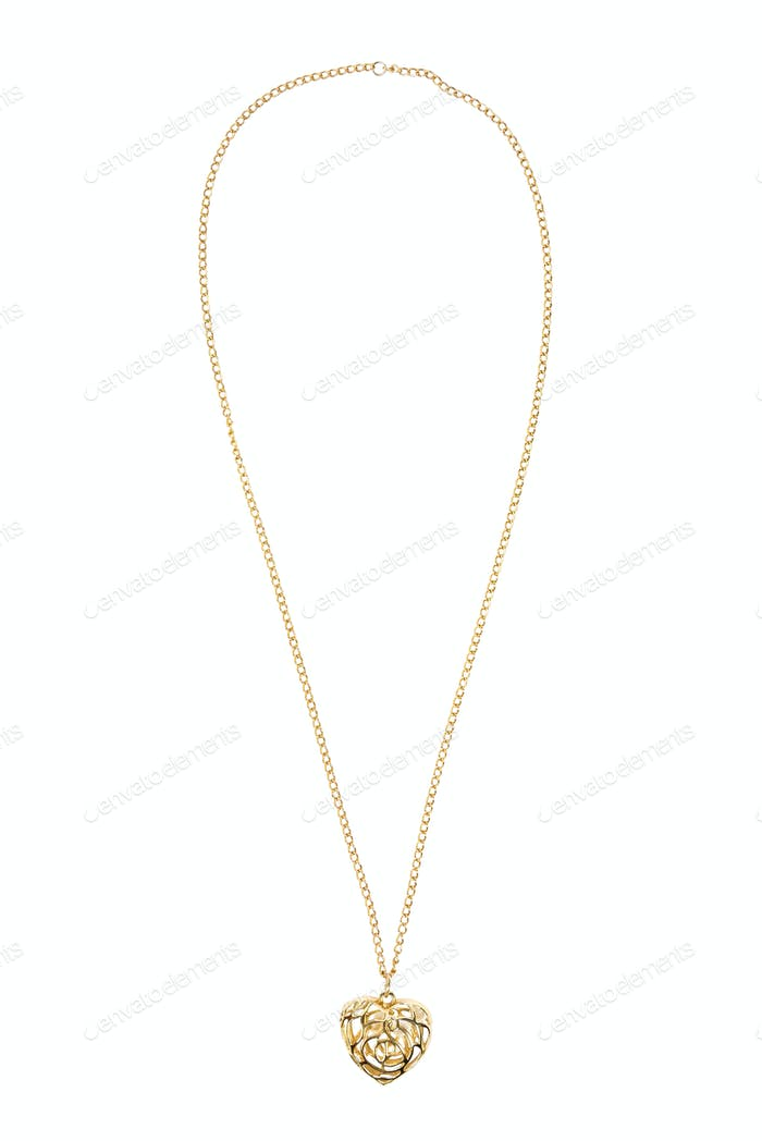 Heart shaped gold necklace on white background