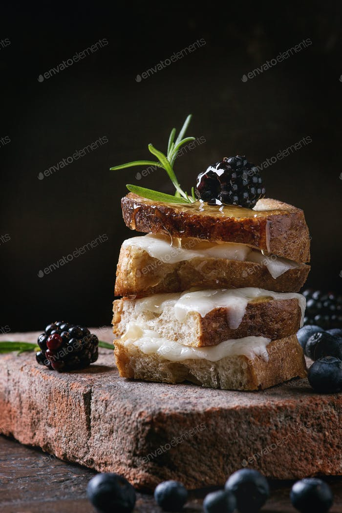 Sandwich with goat cheese and berries