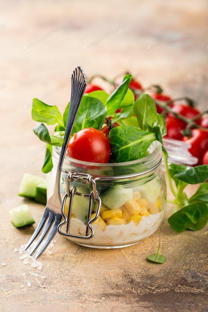 Salad in glass jar