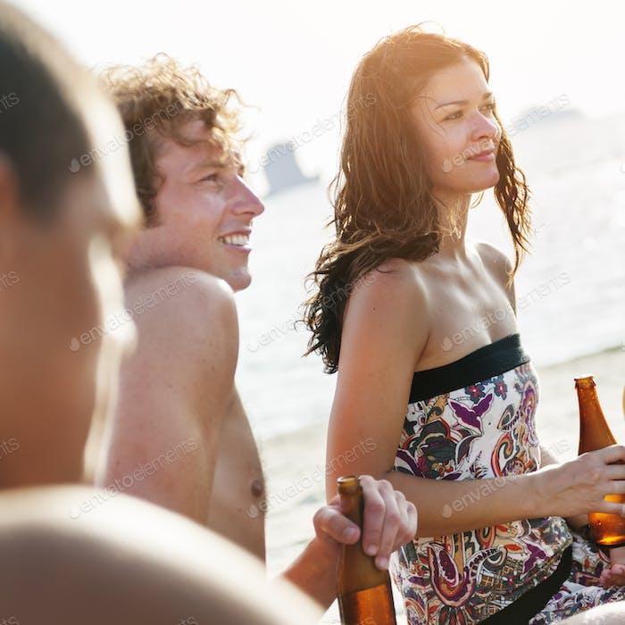 People Celebration Beach Party Sommerurlaub Urlaub Konzept