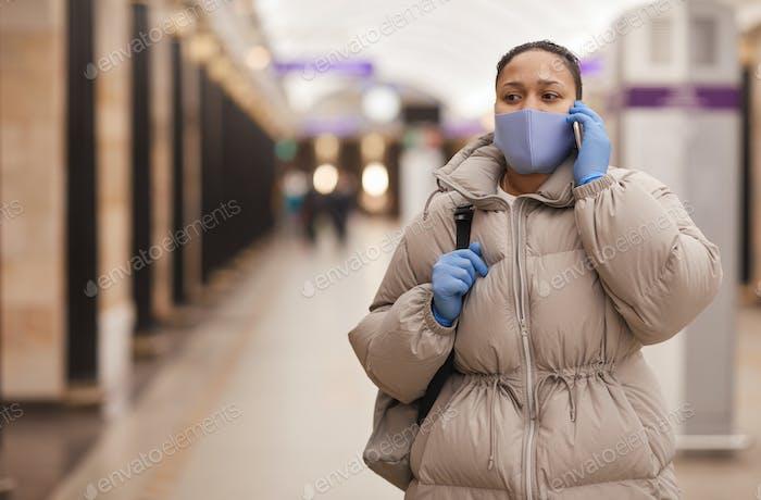 Woman walking in underground