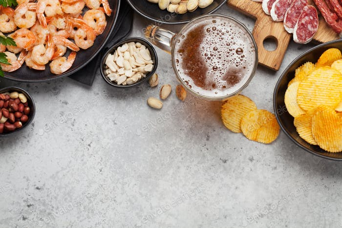 Draft beer and snacks