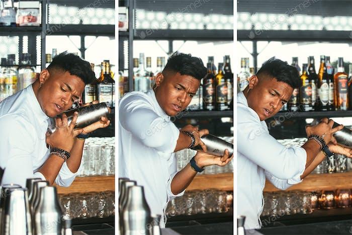 Expert bartender preparing cocktail collage