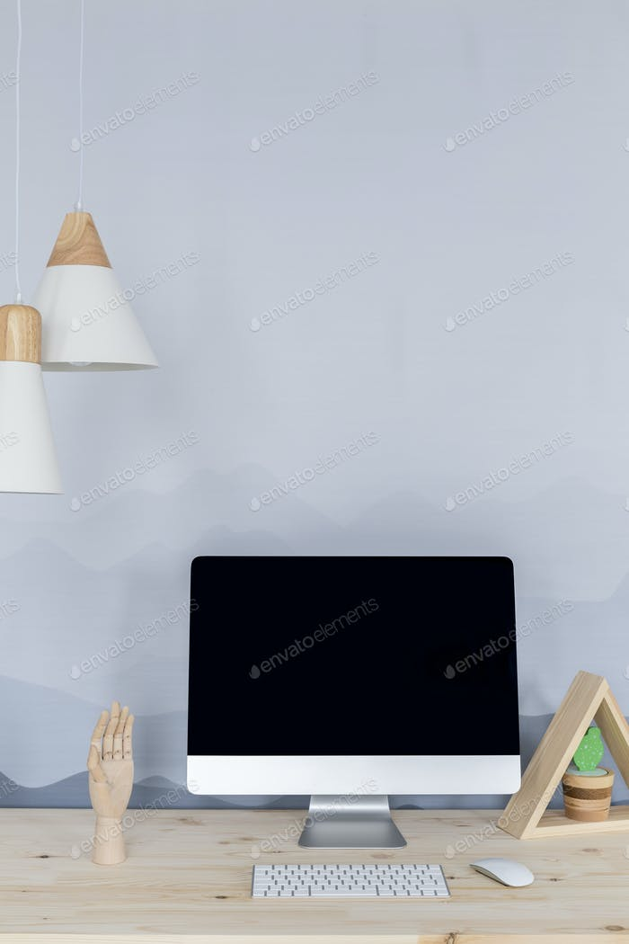 Simple workspace with computer