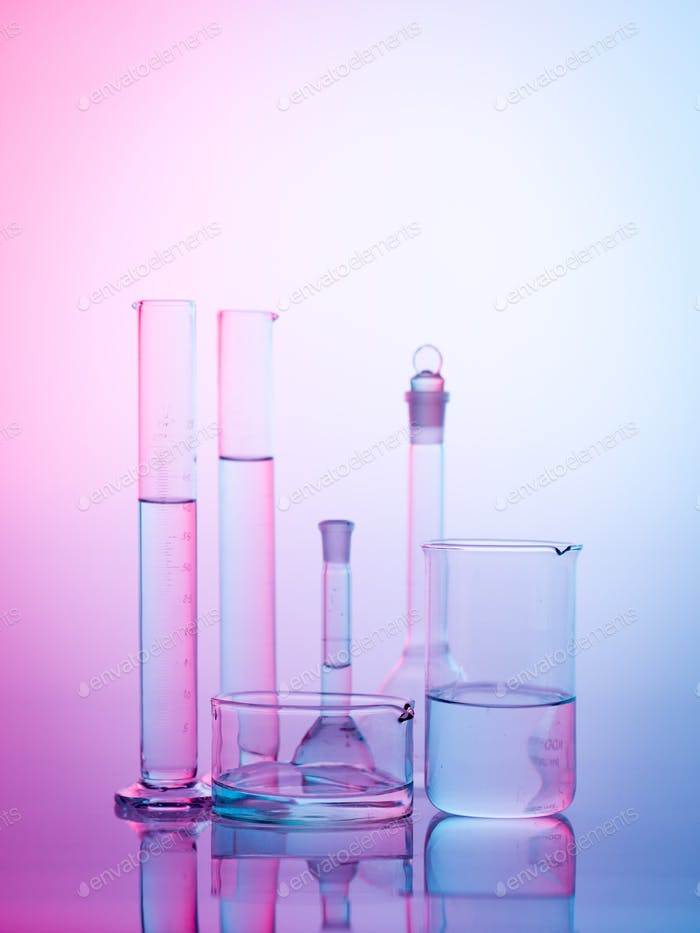 experimental glassware in the lab