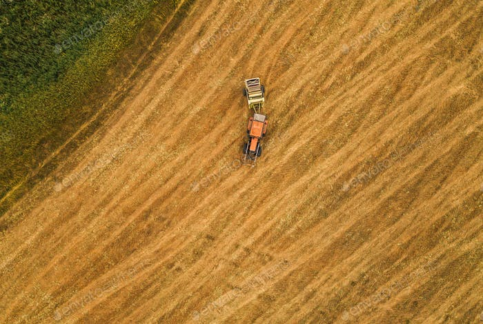 Aerial view of tractor making hay bale rolls in field