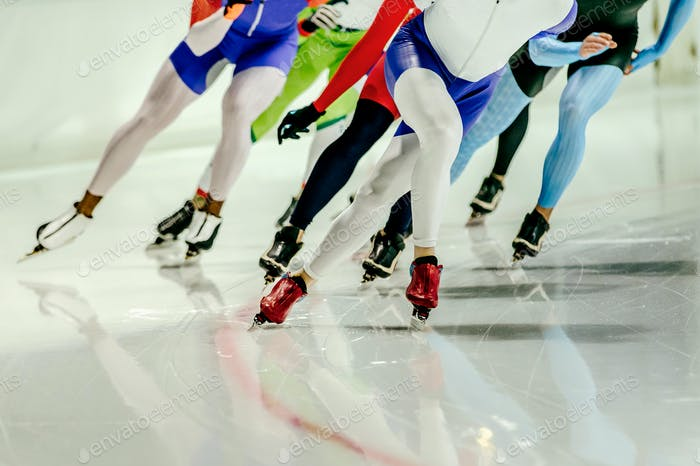 Group women athletes speed skaters