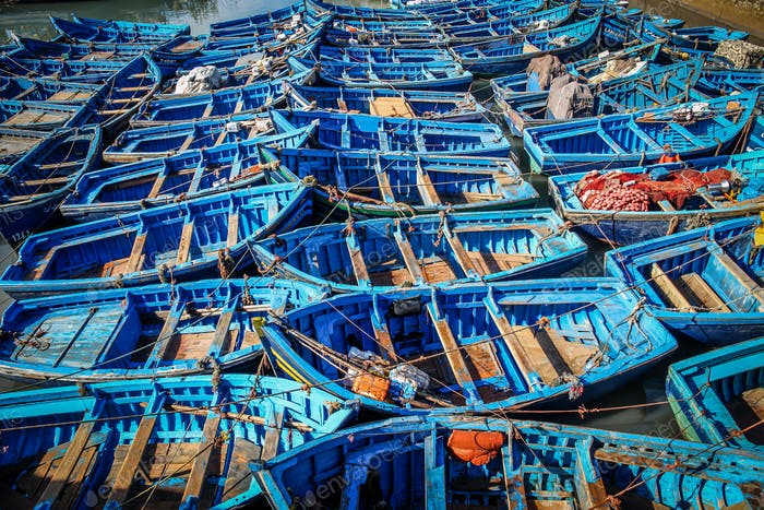 Old blue rusty boats