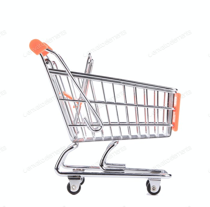 Orange pushcart.