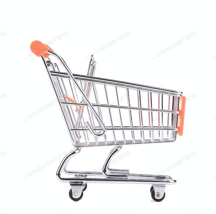Orange pushcart.