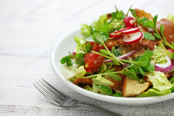 fattoush salad with sumac and pita bread