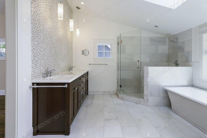 54527,Sinks, bathtub and shower in modern bathroom