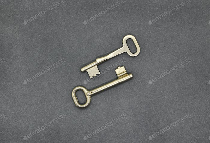 Two keys on gray paper background, close up