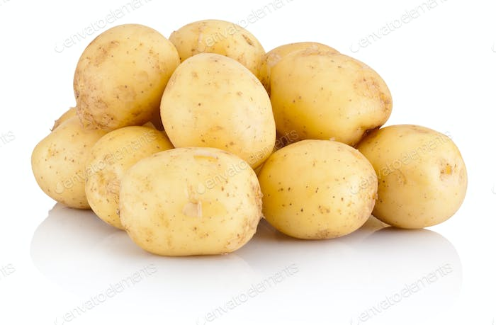 Pile new potato isolated on white background