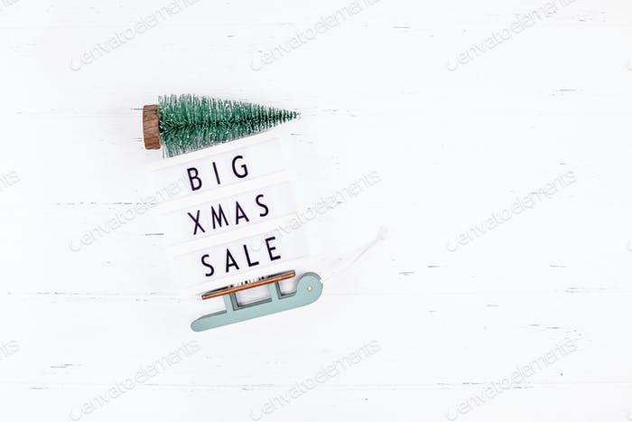 Big Christmas sale text lightbox white background