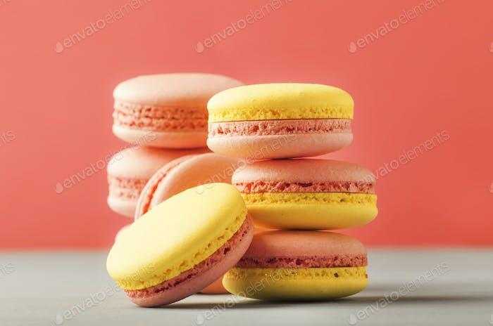 Pink yellow macaroons