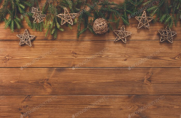 Christmas decoration, stars and garland frame background
