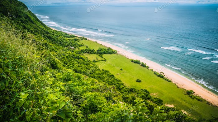 Aerial view of Coast on Nunggalan Beach, Uluwatu, Bali, Indonesia