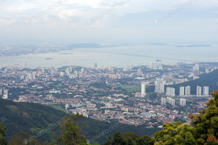 Panoramic view of Penang town from top of Penang hill