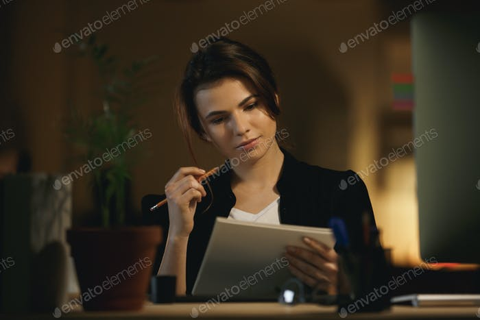 Woman thinking about new design
