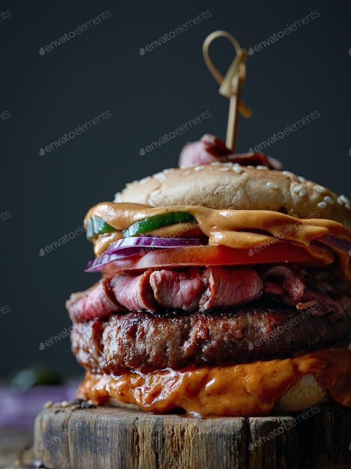 frischer leckerer Steak-Burger