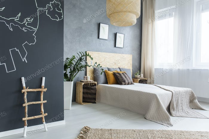 New bedroom with chalkboard