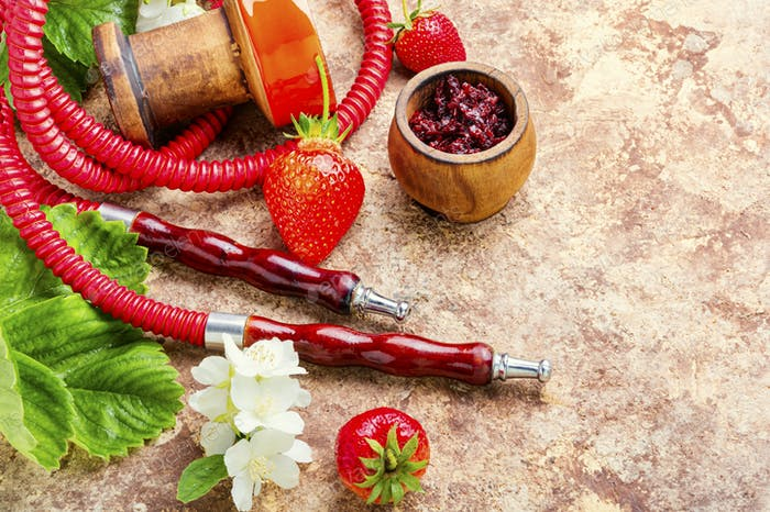 Hookah with strawberries