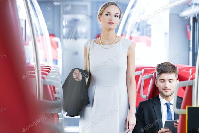 Elegant woman in tram