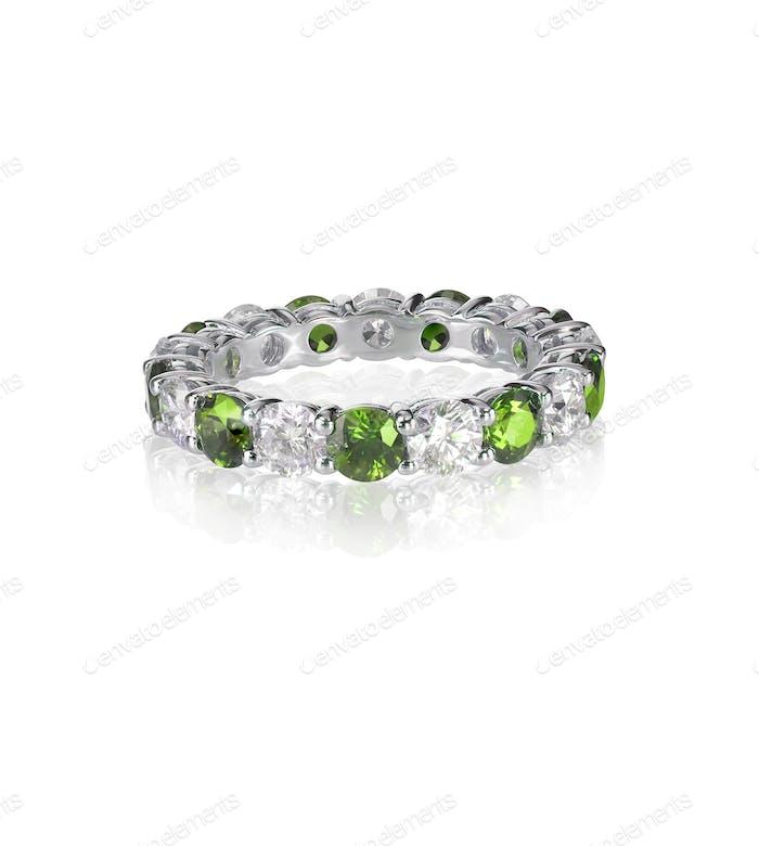 green emerald and diamond wedding band ring