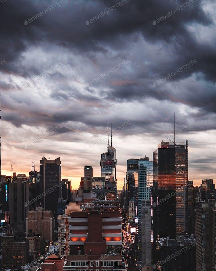 Dynamic sky above the city