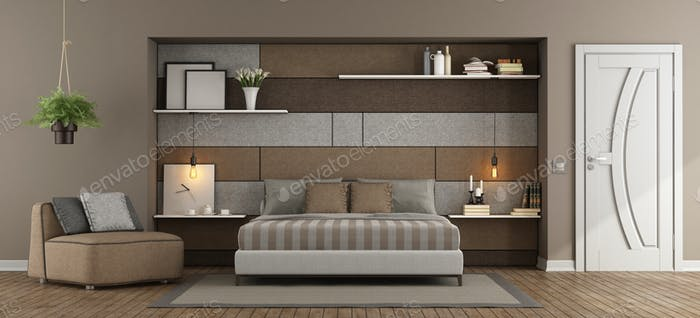 Brown and gray master bedroom
