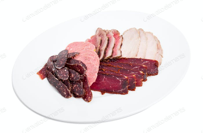 Delicious assorted meat platter.