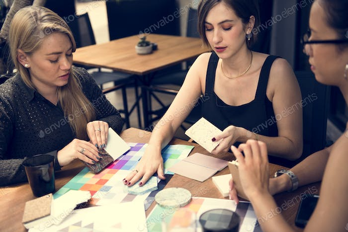Girl friends in a creative meeting