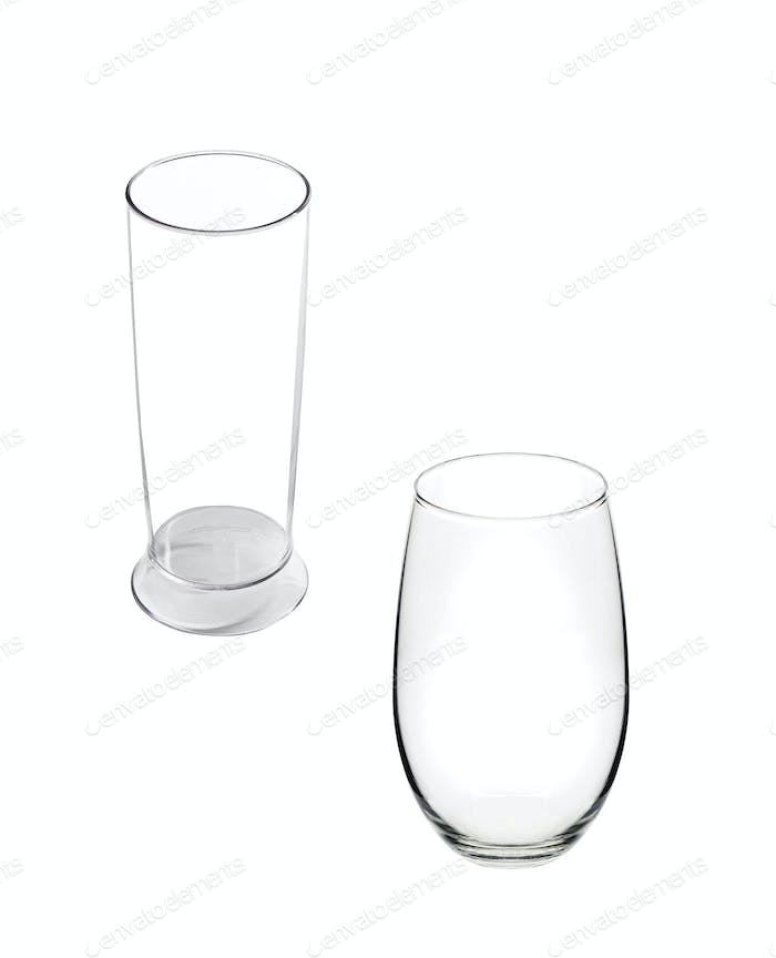 Water glasses isolated on white background