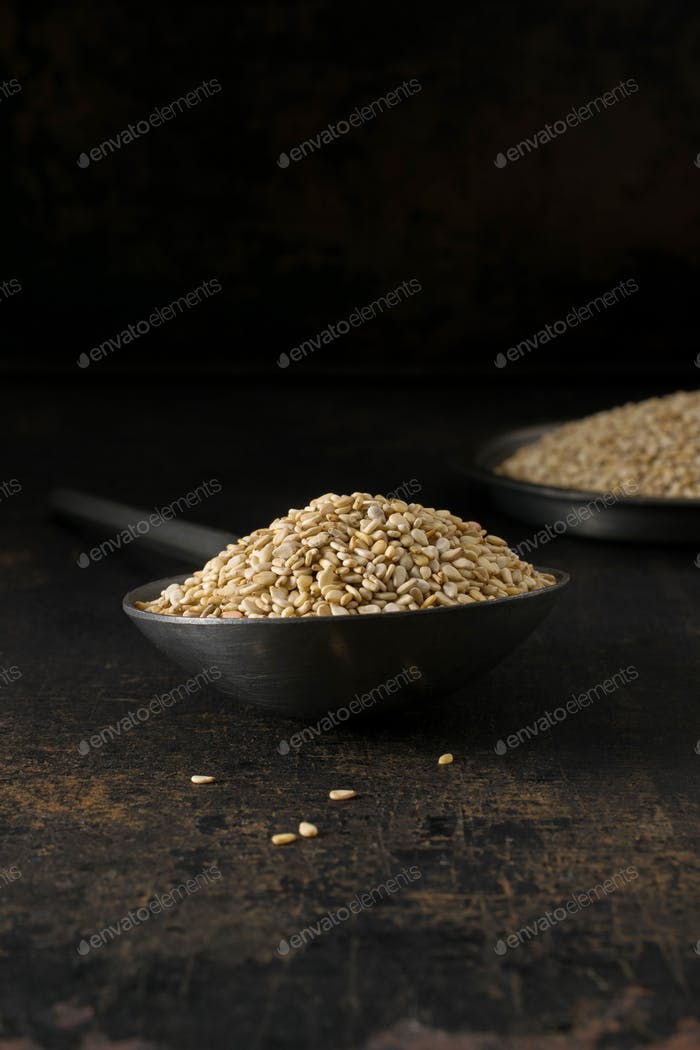 A metal spoon and bowl of sesame seeds