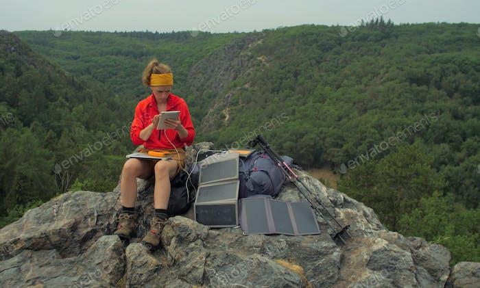 solar charging hiker