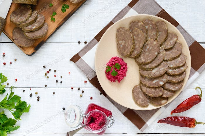 Home made dietary sausage from the liver