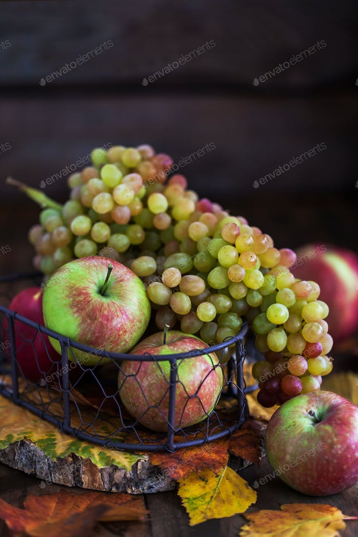 Autumn grape and apples