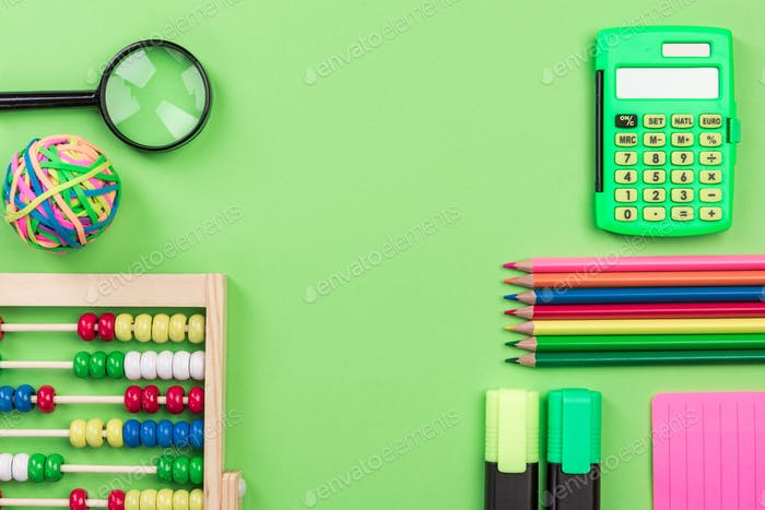 Back to School Green Background witch Office Supplies,Flat Lay