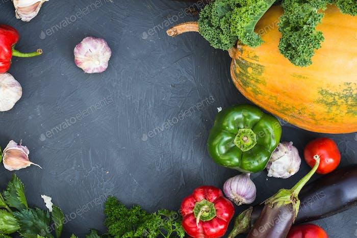 Assortment of fresh vegetables. Healthy organic food concept