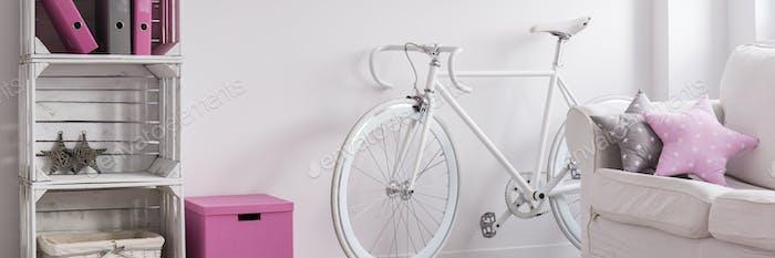 Trendy room with retro bicycle