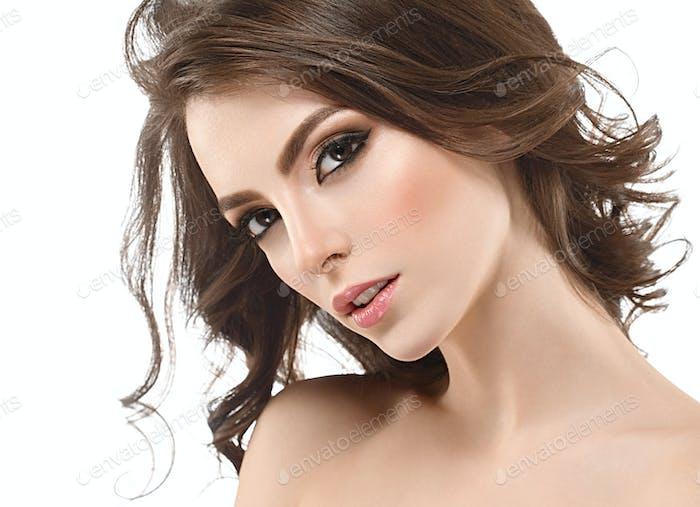 Beautiful Woman Brunette Healthy Beauty Skin Smile. Spa Beautiful Model Girl Cute Face