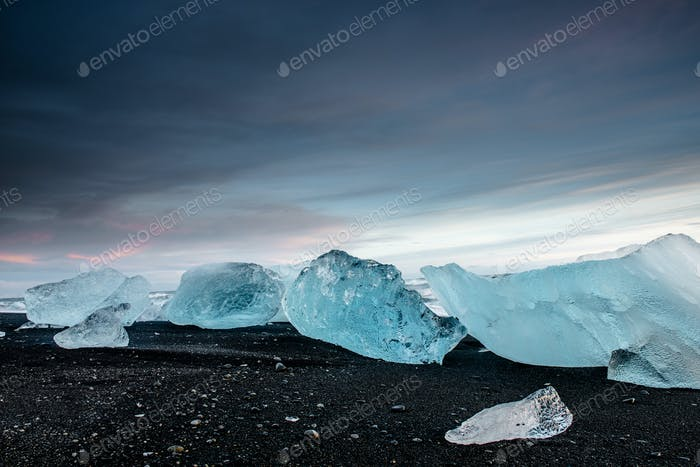 Diamond Beach in Winter in Iceland