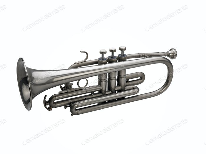 Silver trumpet isolated on white background