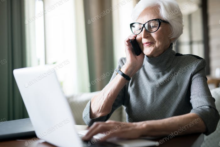 Senior woman having a conversation on the phone